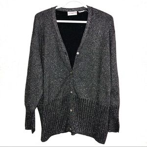❤️3/$30 Sparkly black and silver cardigan. Size 1X